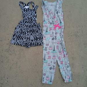 Bundle of 2 girls romper and jumpsuit size 4T